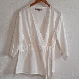 Flax White Linen Wrap Blouse M